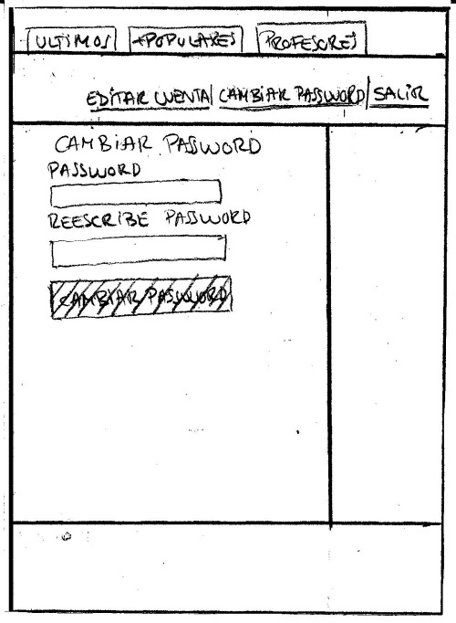 Wireframe Cambiar Password